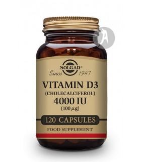 Vitamina D3 4.000 IU 100MCG · Solgar · 120 Cápsulas