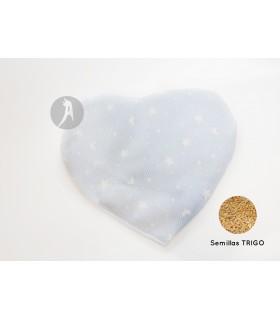 Saco de Calor Modelo Corazón Azul · Semillas de Trigo