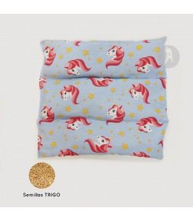 Saco Térmico de Semillas Modelo Cuadrado Unicornio · Semillas de Trigo