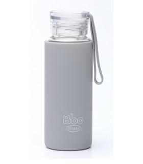 Botella de Agua Reutilizable · VIDRIO · CON FUNDA SILICONA · BBO IRISANA · Gris · 550 ML