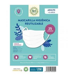 Mascarilla Higiénica Reutilizable . Sol Natural . 1 Unidad   TALLA  INFANTIL 10-12 AÑOS