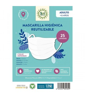 Mascarilla Higiénica Reutilizable . Sol Natural . 1 Unidad   TALLA  INFANTIL M 6-9 años